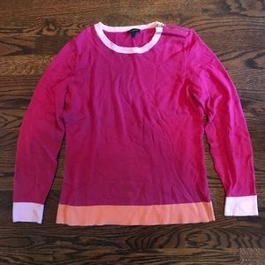 Pink Sweater Zipper Shoulder Orange Trim